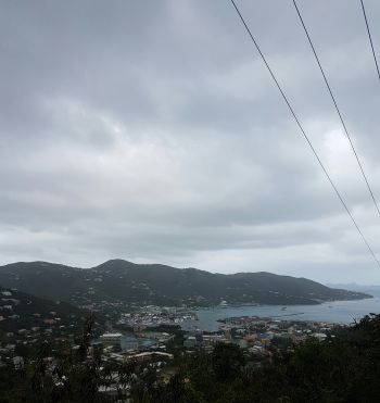 Grey clouds hover over Road Town, Tortola today, April 17, 2017. Photo: VINO