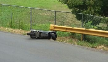 The scooter, which a young man fell off in the Kingston area of Tortola today, April 30, 2017. Photo: Team of Reporters