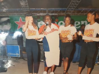 The late Mr Neil A. Blyden aka Mr Melee in the company of his ZVCR girls back in 2004 at East End Festival. This is one of the photos shared with the public by his widow, Mrs Janice Nibbs-Blyden. Photo: VINO/File