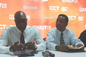 From left: Minster for Education and Culture Hon Myron V. Walwyn (AL) and Chairman of the VI Festival and Fairs Committee Mr Trefor A. Grant at a press conference at Central Administration Complex on July 4, 2017 to announce the line-up of artistes for Virgin Islands Emancipation Festival 2017. Photo: Team of Reporters