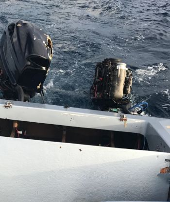 The damaged engines of the boat that reportedly flipped in waters between Road Harbour, Tortola and Peter Island today, July 11, 2017. Photo: Team of Reporters