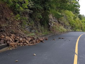 Fallen rocks along the road to Cane Garden Bay, Tortola. Photo: VINO