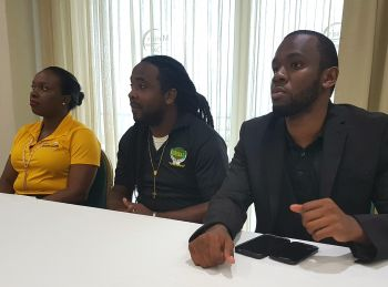 From left: Representative of Jolly's Manufacturing Lou-Ann Jno Baptiste; Director of G. Organic Herbal Center Mr Garrel Jean Pierre and Public Relations Officer of Herbal Organic Center, Mr Kerr A. Pierre. Photo: VINO