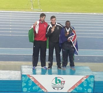 Medallists of the Boys Shot Put at the Commonwealth Youth Games bronze in the Bahamas on July 20, 2017. From left: James C. Tomlinson of England, Connor A. Bell of New Zealand and Djimon L. Gumbs of the Virgin Islands. Photo: Provided