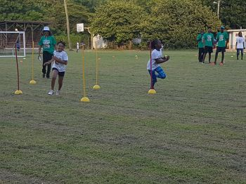 In keen competition at the Kids Athletics Camp on July 22, 2017. Photo: VINO