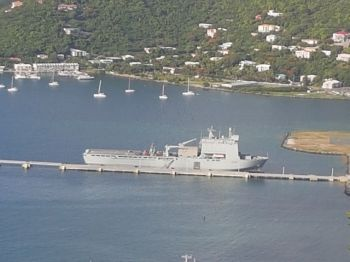 Many residents are calling for the return of the UK's military naval ship RFA Mount Bay to assist the Virgin Islands in its time of need. Photo: VINO/File