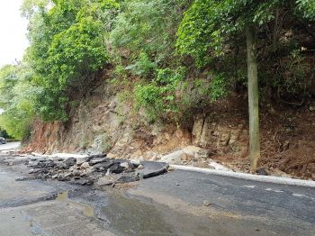 A damaged section of the road on Joe's Hill. Taxi drivers frequent this road to take tourists to Cane Garden Bay. Photo: VINO