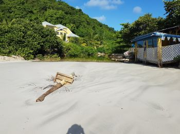 The evidence of erosion at Josiah's Bay beach. Photo: VINO