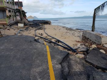 A damaged road and sea defence in Carrot Bay, Tortola, two days after the passage of Hurricane Irma on September 6, 2017. According to Premier and Minister of Finance Dr The Hon D. Orlando Smith (AL), $4.5 million of the $65M Caribbean Development Bank loan funds will be used to repair roads and sea defence at Carrot Bay. Photo: VINO/File