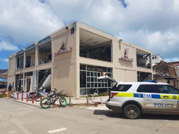 Police presence at Scotiabank in Road Town on September 8, 2017. Photo: VINO
