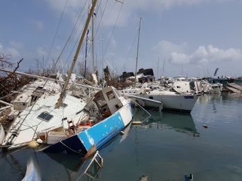 Damaged vessels at Nanny Cay, Tortola following the passage of Hurricane Irma on September 6, 2017. Photo: VINO