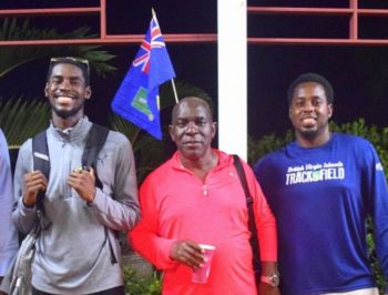 The late Xavier 'Dag' Samuels, seen here flanked by world class hurdler Kyron A. McMaster (left) and President of the BVI Athletics Association Steve Augustine. Photo: VINO/File