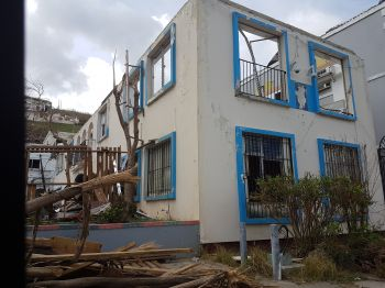 The Police Headquarters in Sir Olva Georges Plaza was ravaged by Hurricane Irma. Photo: VINO
