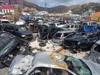 Vehicles destroyed by Hurricane Irma on the waterfront of Road Town, Tortola. Photo: VINO
