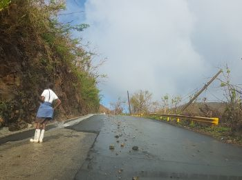 The Joe's Hill road was littered with rocks following a heavy overnight rainfall. Photo: VINO