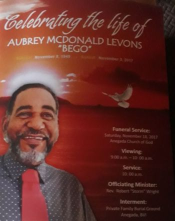 Popular Anegada businessman Mr Aubrey M. Levons died on November 3, 2017. Photo: Team of Reporters