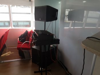 A DJ corner is also available on Lady Caroline, something that would be essential on charter tours. Photo: VINO