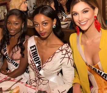 Reigning Miss BVI Khephra D. Sylvester (left) with Miss Ethiopia Akinahome Zergaw (centre) and Miss Panama Laura de Sanctis. Photo: Provided