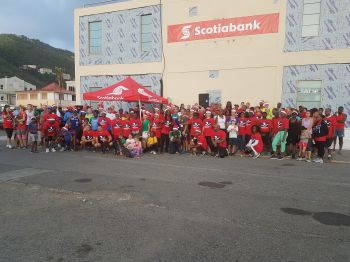 Some 240 persons showed up for the Scotiabank Jingle Bell 5K Walk/Run for Charity on December 16, 2017. Photo: VINO