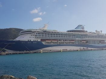A cruise ship in port today, January 3, 2018. According to Tortola Pier Park (TPP) management, the ban is aimed at providing a comfortable, family-friendly shopping experience for all guests which is in keeping with the Berthing Agreements.' Photo: VINO