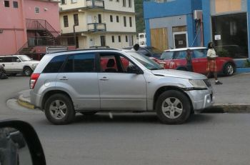 The SUV that reportedly came into contact with a pickup truck in Road Town today, January 10, 2018. Photo: Team of Reporters