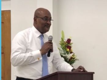 Minister for Health and Social Development Honourable Ronnie W. Skelton (AL) gave remarks at the BVI Red Cross Awards Ceremony on January 11, 2018. Photo: VINO