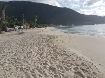 The world renowned Cane Garden Bay beach was closed for recreational use early December 2017 due to high bacterial content in the water, according to Government. Photo: VINO
