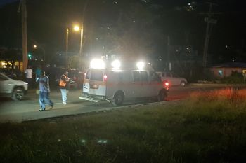 The ambulance at the scene of the accident at Pasea Estate, Tortola today, January 22, 2018. Photo: Team of Reporters