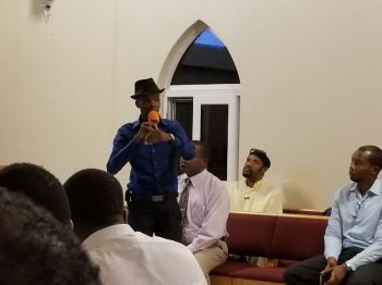 Technical Consultant for the Water and Sewerage Department Mr Walton Keith Smith addresses the public meeting at the Cane Garden Bay Methodist Church on January 25, 2018. Photo: VINO