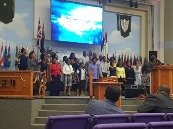 The choir of the New Testament Church of God International Worship Centre performs a selection on Sunday, February 4, 2018. Photo: VINO