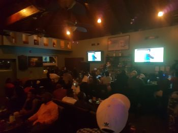 Aromas Cigar and Martini Bar on Tortola Pier Park was also a popular spot to view Super Bowl LII on February 4, 2018. Photo: VINO