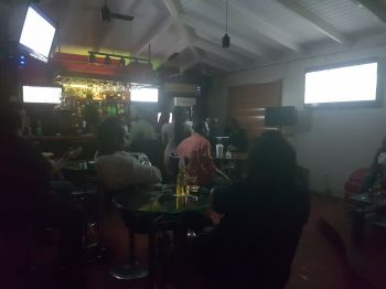 Catching the Super Bowl LII action at Le Petite Sports Lounge in Baughers Bay, Tortola on February 4, 2018. Photo: VINO