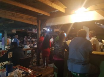 Residents and visitors of the Virgin Islands converged in large numbers at Captain Mulligan's on Nanny Cay, Tortola to catch Super Bowl LII on television on February 4, 2018. Photo: VINO