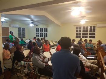 Some of the persons at the consultation meeting at Cane Garden Bay Baptist Church on February 6, 2018. Photo: VINO