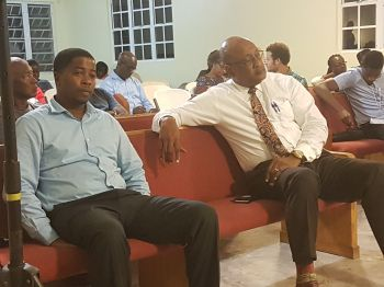 Minister for Health and Social Development Hon Ronnie W. Skelton (AL), right, and Second District Representative Hon Melvin M. Turnbull, left, at the Consultation Meeting on the Recovery and Development Plan at Cane Garden Bay Baptist Church on February 6, 2018. Photo: VINO