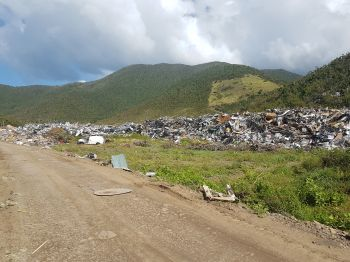 A section of the hurricane debris at Cox Heath, Tortola. Photo: VINO