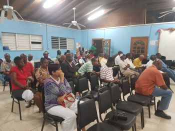 Some of the persons at the public meeting held at St Mary's Church Hall in Virgin Gorda on March 7, 2018. Photo: VINO