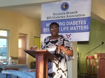 Acting President of the BVI Diabetes Association- Western Branch and cancer survivor Ms Gloria A. Fahie has called on the community to make the necessary lifestyle changes to tackle Diabetes. Photo: VINO