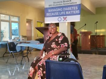 Diabetic amputee Ms Lorna Lewis sharing her story about life after amputation. Photo: VINO