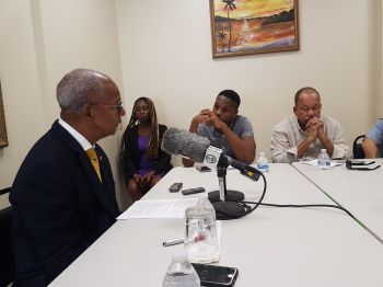 Grilled by reporters on the recent outburst against the UK by his NDP successor, Honourable Myron V. Walwyn (AL), the Premier, Dr the Honourable D. Orlando Smith, instead downplayed the actions of the UK as routine. Photo: Team of Reporters