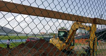 Two days after signing a contract with the Recovery and Development Agency (RDA), No Limit Construction commenced work at the A.O. Shirley Recreation Grounds in Road Town, Tortola. Photo: VINO