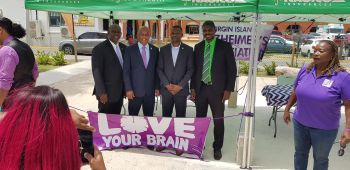 Ministers of Government show support for the Virgin Islands Alzheimer's Association at the VI Alzheimer's Association 'Love your Brain' event held at the Noel Lloyd Positive Action Movement Park in Road Town, Tortola, on Friday, June 2, 2019, in observance of Alzheimer's and Brain Awareness Month. From left: Minister for Health & Social Development Hon Carvin Malone (AL); Minister for Natural Resources, Labour & Immigration Hon Vincent O. Wheatley (R9); Minister for Transportation, Works and Utilities Hon Kye M. Rymer (R5) and Minister for Education, Culture, Youth Affairs, Fisheries and Agriculture Dr The Hon Natalio D. Wheatley (R7). Photo: VINO
