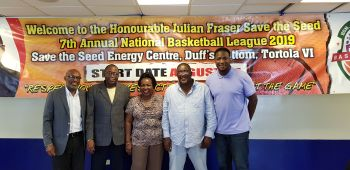 From left: Pastor Albert O. Wheatley, who was representing Co-Founder of the Hon Julian Fraser Save the Seed Basketball League, Bishop John I. Cline; Co-Founder of the League Hon Julian Fraser RA (R3); League Chairperson Mrs Kharid T. Fraser; League Commissioner and newly elected President of the BVI Basketball Federation (BVIBF) Mr Derrick R. Varlack and Vice-President of the BVIBF, Mr Jason A. Edwin at the launch of the 7th edition of the league in the conference room of the Save the Seed Energy Center in Duffs Bottom, Tortola, on June 27, 2019. Photo: VINO