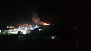 The landfill fire at Pockwood Pond, Tortola, photographed from a distance on the night of June 2, 2019. Photo: VINO