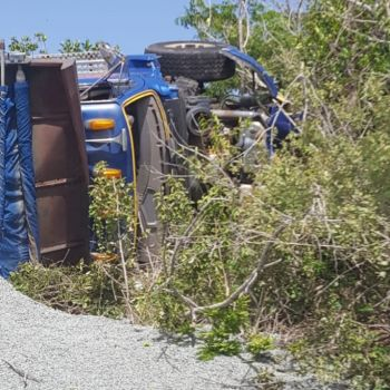 A driver of a truck in North Sound, Virgin Gorda, this morning, July 4, 2019 was lucky to escape unhurt after the vehicle's brakes allegedly failed. Photo: Team of Reporters