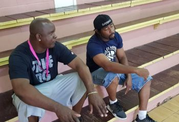 This morning, Sunday July 14, 2019, the BVI Bayside Blazers team did a work out and practice session under the leadership of Head Coach Ronald Simmons aka 'Gola', right, and Assistant Coach Trevor M. Stevens, left. Photo: VINO