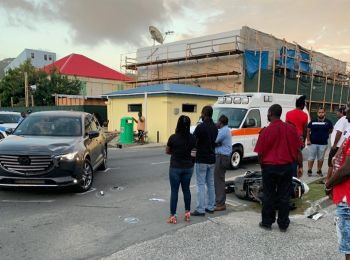 The scene of the accident involving a car and a motor scooter on De Castro Street, Tortola, today, July 19, 2019. Photo: Team of Reporters