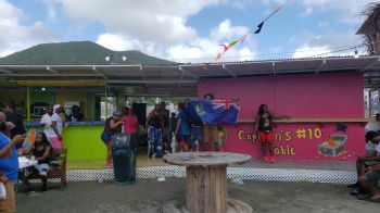 A small group of persons in the wet fete at the Prime Time Festiville in Road Town, Tortola, this morning, August 6, 2019. Photo: VINO