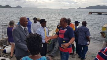 Minister for Natural Resources, Labour and Immigration, Honourable Vincent O. Wheatley (R9) at the Oliver Turnbull aka 'Ollie' Fisherman's Tournament in Carrot Bay today, August 8, 2019. Photo: VINO
