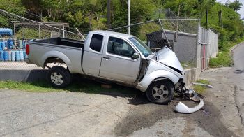 The damaged vehicle at the scene of the accident at Baughers Bay, Tortola, on August 11, 2019. Photo: VINO